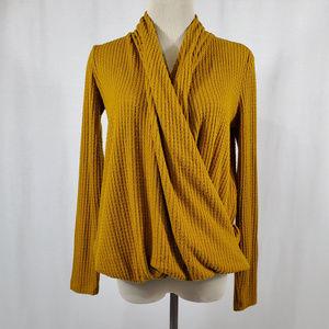 ANTHROPOLOGIE/ Mustard Faux Wrap Sweater-Knit